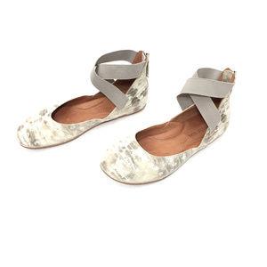 Gentle Souls Cream & Silver Leather Ballet Flats